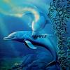 """ DANCING DOLPHIN "" 30' X 30"" LIMITED EDITION LITHOGRAPH"