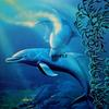 """ DANCING DOLPHIN""                    30"" X 30""   OIL ON CANVAS   SOLD"